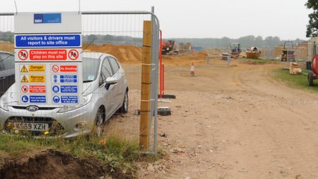 Residents of Horsford upset at the breach of planning permission as builders remove the topsoil at a