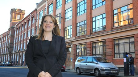 Claire Heald, executive principal of Jane Austen College, outside the building on Colegate, Norwich.