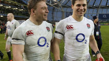 England's Tom and Ben Youngs celebrate victory over Ireland in the RBS 6 Nations match at the Aviva