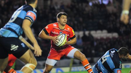 Ben Youngs in pre-season action for Leicester Tigers against Cardiff Blues in August 2014. Picture: