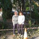 Catherine Spencer and Green city councillor Lucy Galvin with the fallen tree in Dereham Road. Pic: S