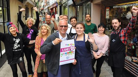 Duane Dibartolomeo, front centre, Grosvenor Fish Bar co-owner, with traders from Lower Goat Lane. Pi