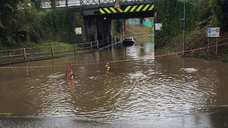 Flooding on Station Road in Wymondham. Picture: Steve Maddams
