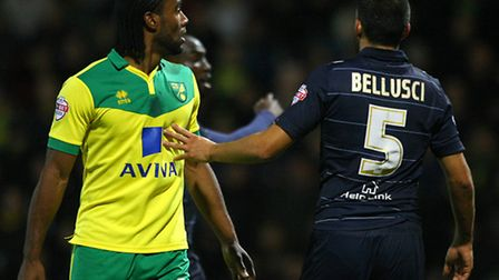 Cameron Jerome of Norwich and Giuseppe Bellusci of Leeds United just after the Norwich player allege