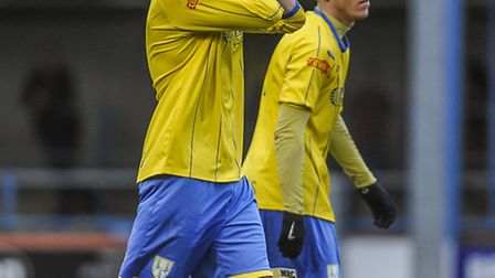 FA Cup action from King's Lynn Town v AFC Fylde at The Walks - Lynn's Michael Frew anguish as he com
