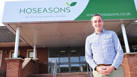 Hoseasons call centre, Lowestoft.Matt Smith oust side the building with the new company logo.