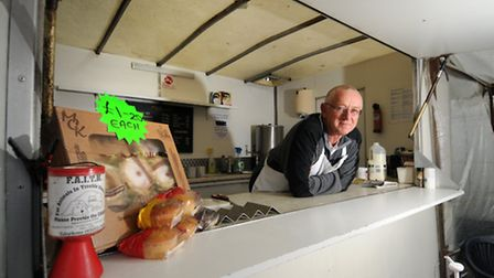 Kevin Knowles at his burger van on Stalham market.Picture: ANTONY KELLY