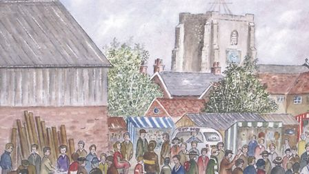 Roy Turley's watercolour of Stalham Market in its glory days. Picture: SUBMITTED