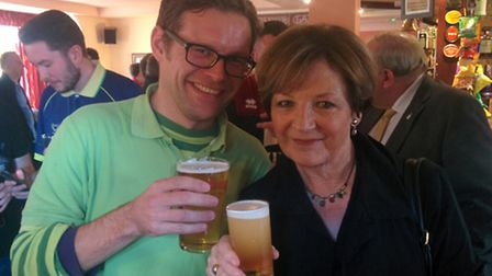 Ben East, chairman of Northern Canaries with Norwich City joint majority shareholder Delia Smith. Pi