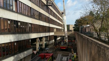 Firefighters at the scene of the fire in a chemistry laboratory at the UEA. Picture: Adie Russen