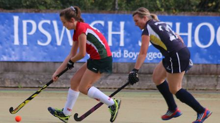 Norwich Dragons II's player of the match Aoife Lowe-Davies brings the ball forward against Ipswich I