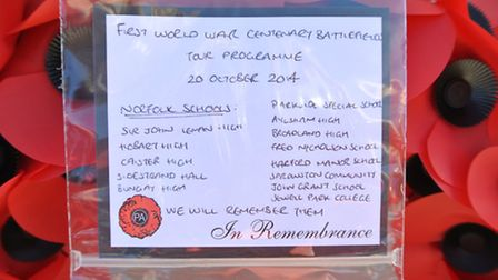 A wreath from pupils on the trip, left at the Tyne Cot Cemetery. Photo: Equity