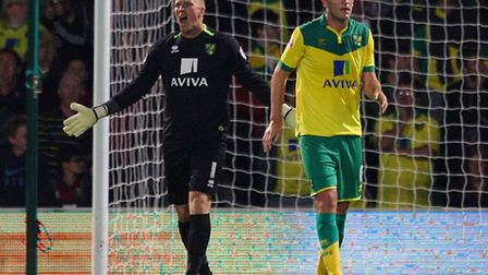 Norwich City goalkeeper John Ruddy berates his defence after they concede during a 1-0 defeat to Cha