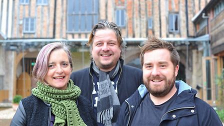 Rachael McLanaghan with Mark Matless, centre, and James Hammond who are planning a Halloween Jambore