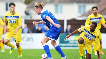 Lee Smith in action for Lowestoft against Oxford City.
