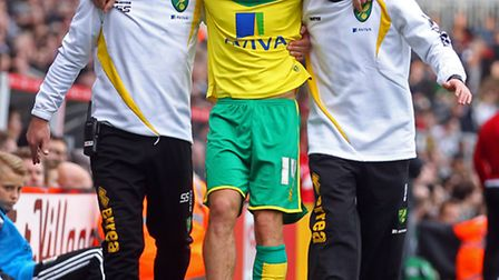 Norwich City midfielder Wes Hoolahan damaged his ankle ligaments at Fulham. Picture by Paul Chestert