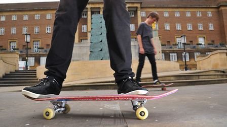 In the hands of City Hall. Skateboarders in Norwich City centre where a ban could be put in place. P