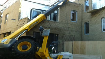 A crane toppled over during construction on the Westlegate site in Norwich
