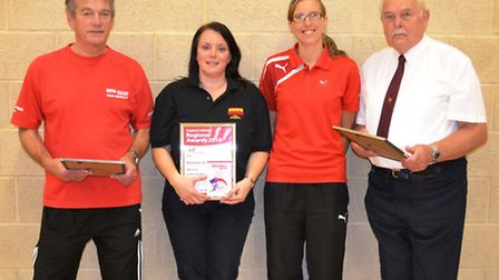 City of Norwich Athletics Club volunteers (from left) Keith Yellop, Helen Stubbs, Tania Spurling (En