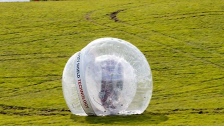 Nissan put a Note into a CarZorb to promote its Safety Shield technology.