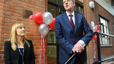 Schools minister, Nick Gibb, speaks before cutting the ribbon to officially open the Jane Austen Col