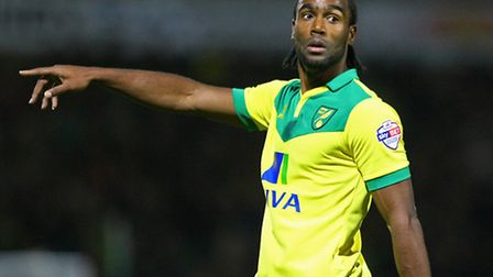 Cameron Jerome points the way for Norwich City against Leeds United at Carrow Road on Tuesday. Pictu