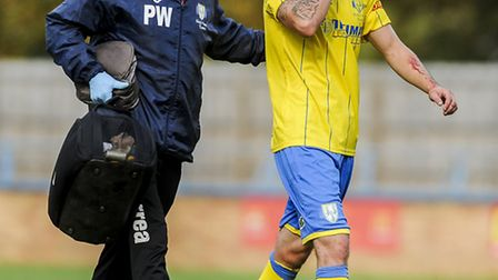The head injury that Ryan Fryatt sustained against Hednesford which has ruled him out of King's Lynn
