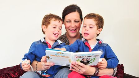 Lucille Reed with her three year old twins George and William who were born 12 weeks early. She is