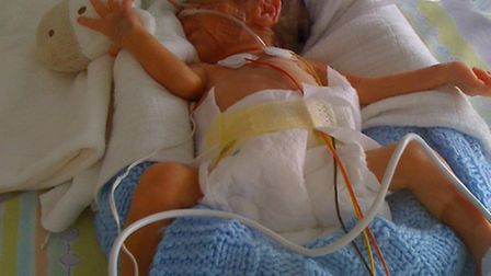 William Reed of Ditchingham who was born 12 weeks early. His mum Lucille is running a half marathon