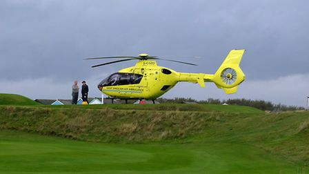 The air ambulance landed on one of the greens, 18/10/14