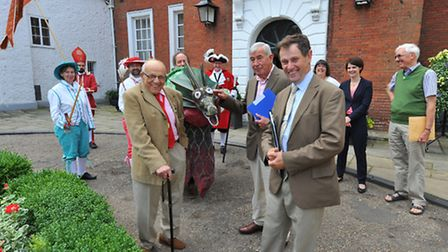 Britain in Bloom judges greeted by Bill Webster, Chloe Smith and an assortment of Norwich characters