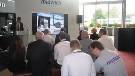 An industry talk at the Midwich stand during the company's Technology Exposed 2014 event.