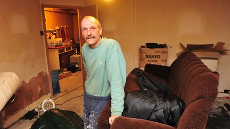 EDP Flood Appeal recipient Alan Spoor in his flood damaged basement flat along Marine Parade, Lowest