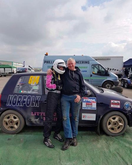 Abbie McGuinness with her hero, father and former racer Brian McGuinness