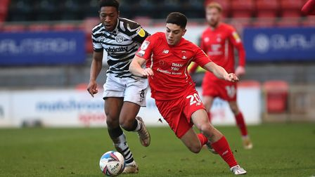 Ruel Sotiriou of Leyton Orient and Ebou Adams of Forest Green Rovers during Leyton Orient vs Forest