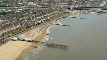 SHIFTING SANDS; The erosion to Lowestoft's South Beach is clear to see in this aerial picture taken