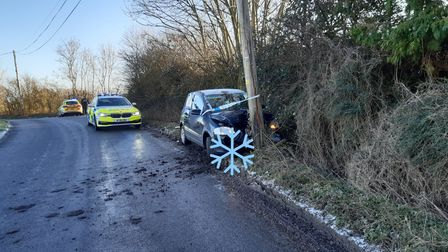 A driver crashed into a telegraph pole on Monday amid icy conditions.