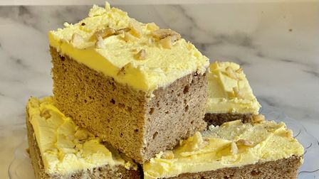 Banana Cake with Lemon Frosting, made by Cupcake & Co, in Norwich.