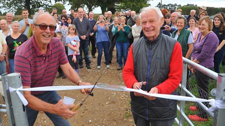 Fun down on Brundall's new allotments.Martin Davies, parish council chairman, right and Mike Hammond