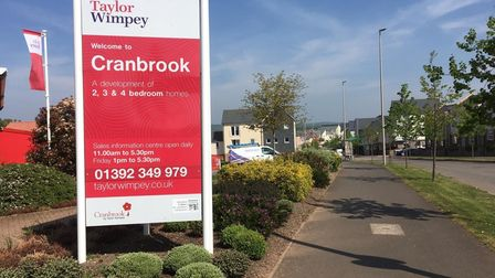 A Taylor Wimpey sign for Cranbrook