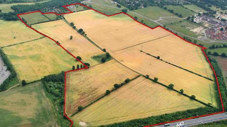 An aerial view of the site at Newfound Farm, Cringleford, where Barratt Homes wants to build 800 hom