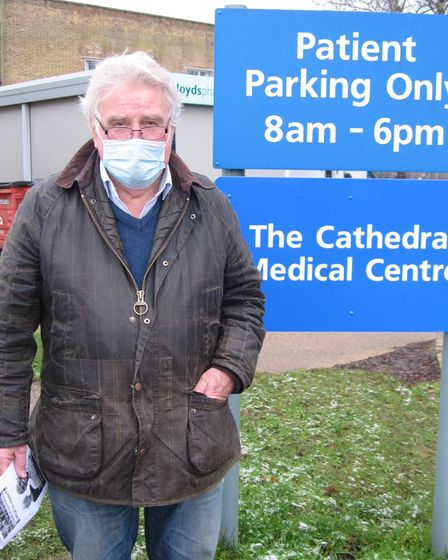 East Cambridgeshire councillor Bill Hunt outside the Cathedral Medical Centre in Ely.