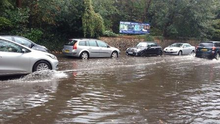 Flooding on Ipswich Road outside City College, Norwich. Picture: Charlie Vincent