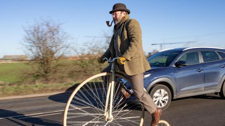 Whittlesey adventurer spotted on penny-farthing