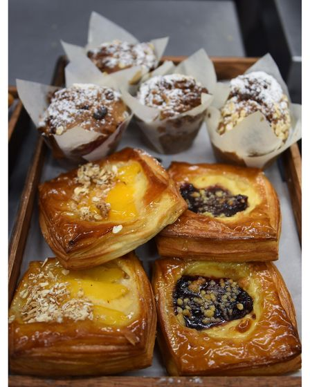 Fruit danishes and raspberry muffins at Dollies Bakery at Coltishall. Picture: DENISE BRADLEY