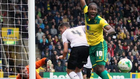 Norwich City's Cameron Jerome can't believe he is denied by Rotherham goalkeeper Adam Collin in the