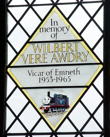 A stained glass window at the Parish Church in Emneth, dedicated in the memory Rev Awdry, who wrote