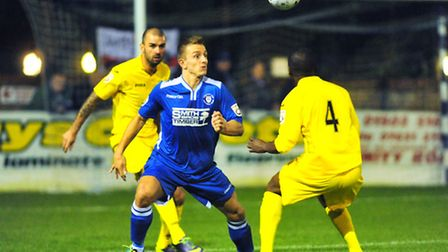 Vanarama Conference North league football action between Lowestoft Town and Brackley Town -Jake Reed