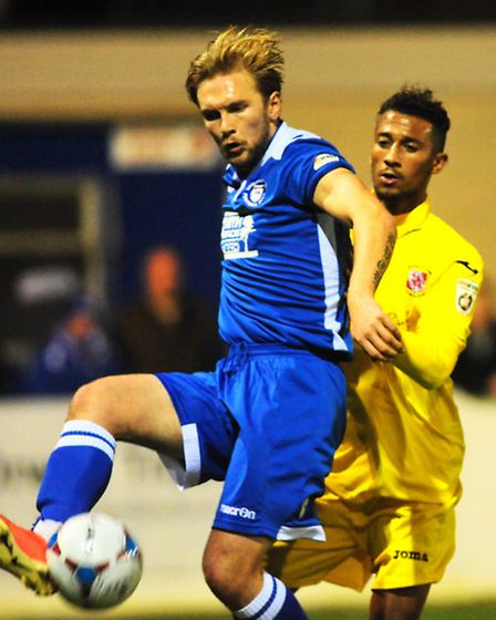 Vanarama Conference North league football action between Lowestoft Town and Brackley Town. Robert Ea
