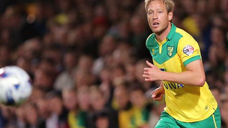 Luciano Becchio in rare Norwich City action, befor his move to Rotherham United. Picture by Richard
